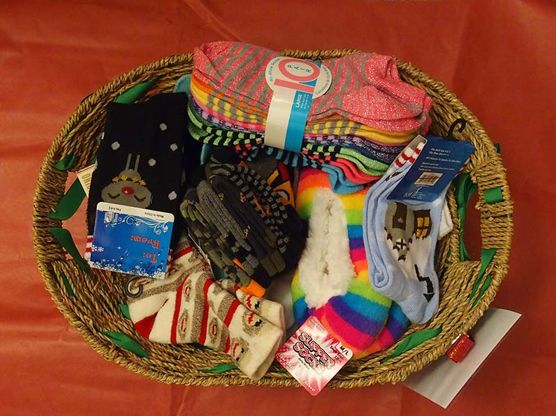 Basket with socks