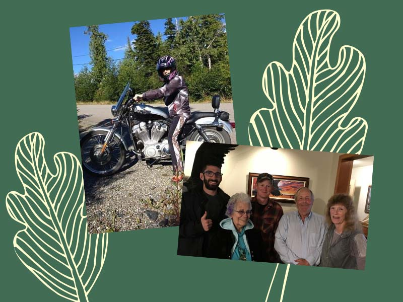Jan on her motorcycle and with friends and family