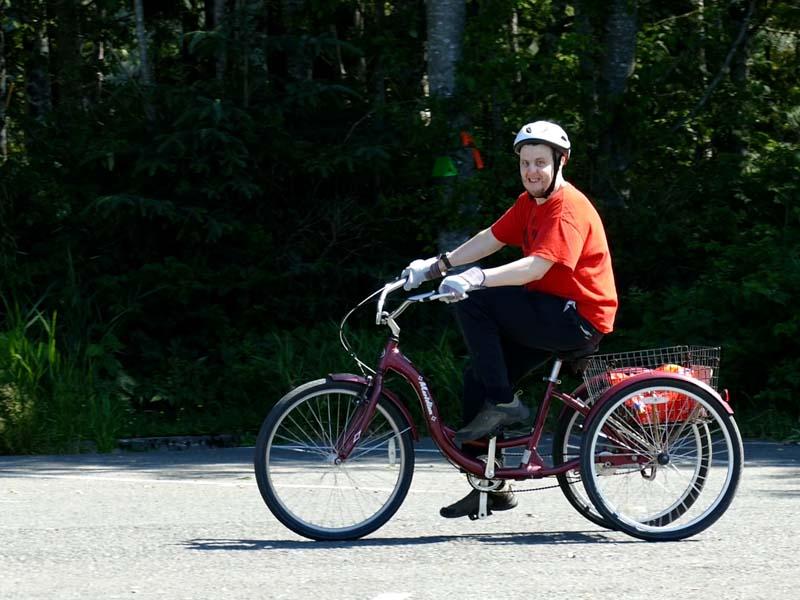 Jimmy riding a bike