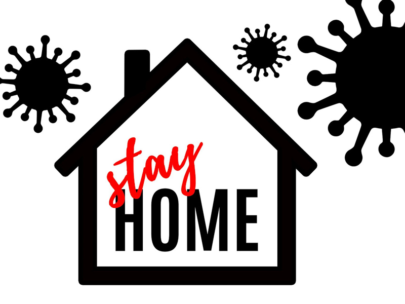 "House that says ""stay home"" with big virus silhouettes in the sky"