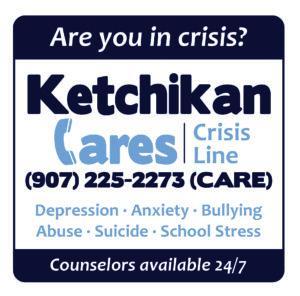 Text graphic about Ketchikan Cares Crisis Line